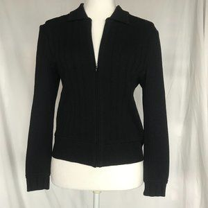 St. John Black Zip Up Cardigan, Size 2